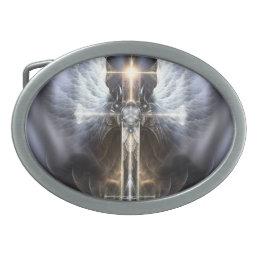 Heavenly Angel Wing Cross Fractal Art Belt Buckle