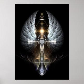 Heavenly Angel Wing Cross Fractal Art Black Bkgnd Poster