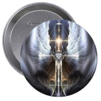 Heavenly Angel Wing Cross Fractal Art Button