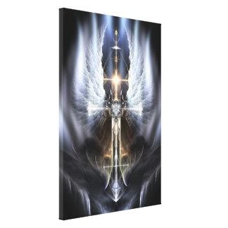 Heavenly Angel Wing Cross Fractal Art Canvas Print