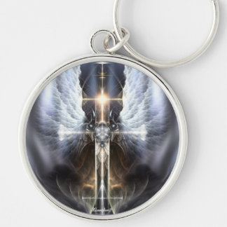 Heavenly Angel Wing Cross Fractal Art Keychain