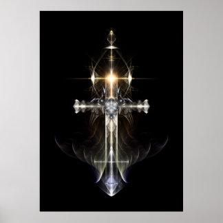 Heavenly Angel Wing Cross Fractal Art NWGBGBL Poster