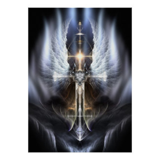 Heavenly Angel Wing Cross Fractal Art Poster ORG
