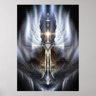 Heavenly Angel Wing Cross Fractal Art Poster Tile