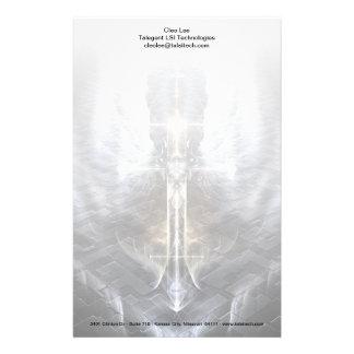 Heavenly Angel Wing Cross Fractal Art Stationery