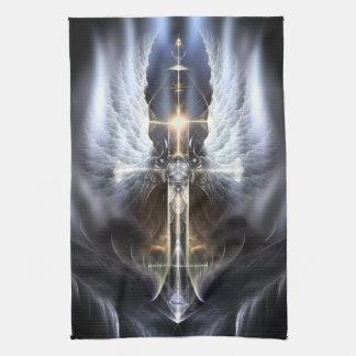 Heavenly Angel Wing Cross Fractal Kitchen Towel