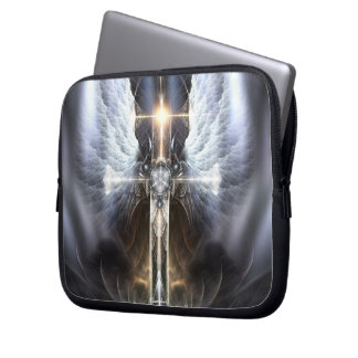Heavenly Angel Wing Cross Fractal Laptop Sleeve