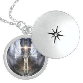 Heavenly Angel Wing Cross Fractal Silver Locket
