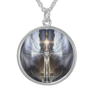Heavenly Angel Wing Cross Fractal Silver Necklace Round Pendant Necklace
