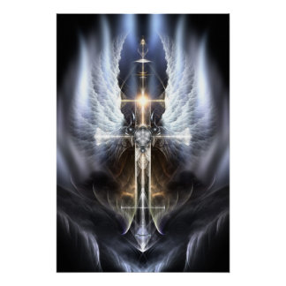 Heavenly Angel Wing Cross Perfect Poster