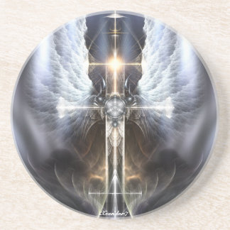 Heavenly Angel Wing Cross Sandstone Coaster