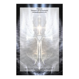 Heavenly Angel Wing Cross Stationery With Border