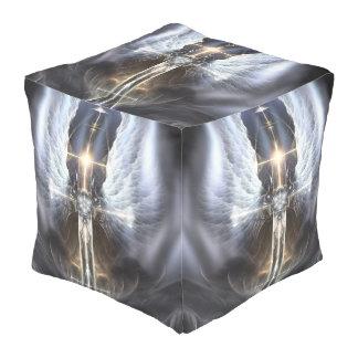 Heavenly Angel Wings Cross Cube Pouf
