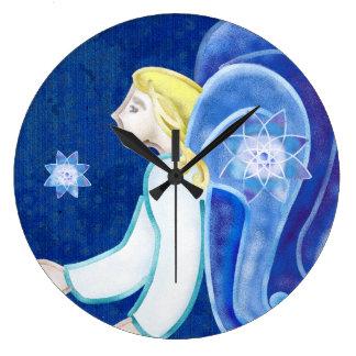 Heavenly Beings Angel Folk Art DECOR Large Clock
