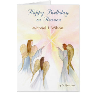 Heavenly Birthday Custom Name, Age, In Remembrance Card