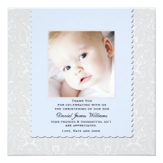 Heavenly Blue Damask Photo Thank You / Notecard
