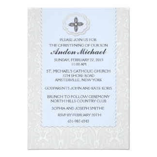 "Heavenly Blue Damask Religious Invitation 5"" X 7"" Invitation Card"