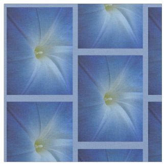 Heavenly Blue Morning Glory Close-Up Photo Fabric
