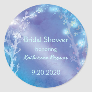 Heavenly Blue Trees Bridal Shower Classic Round Sticker