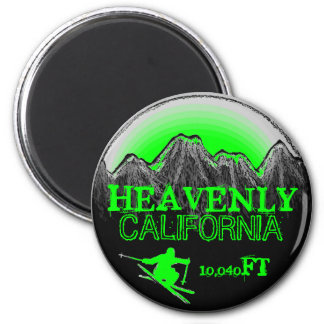 Heavenly California green ski art elevation magnet