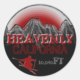 Heavenly California red ski art stickers