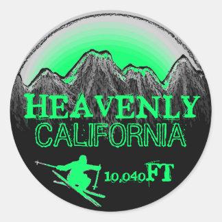 Heavenly California sea green ski art stickers