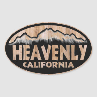Heavenly California wood sign oval stickers