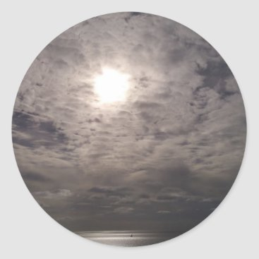 Beach Themed heavenly clouds classic round sticker