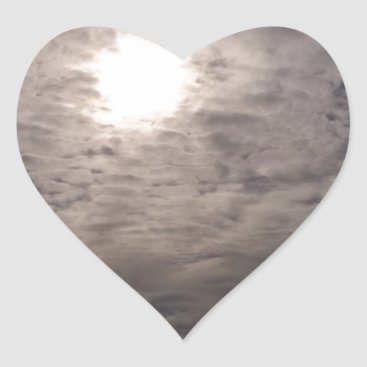 Beach Themed heavenly clouds heart sticker