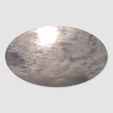 Beach Themed heavenly clouds oval sticker