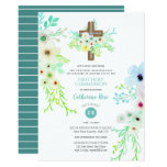 Heavenly Cross Holy Communion Invitation Flowers