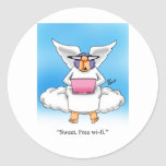 Heavenly Humor Angel Computer Cartoon Gift! Round Stickers