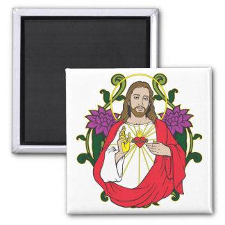Heavenly Jesus Sacred Heart 2 Inch Square Magnet