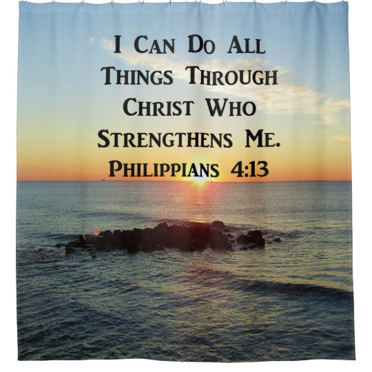 HEAVENLY PHILIPPIANS 413 BIBLE VERSE SHOWER CURTAIN
