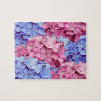 Heavenly Pink and Baby Blue Hydrangeas Jigsaw Puzzle