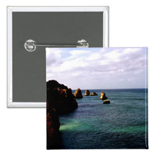 Heavenly Portugal Ocean - Teal & Azure Pinback Button
