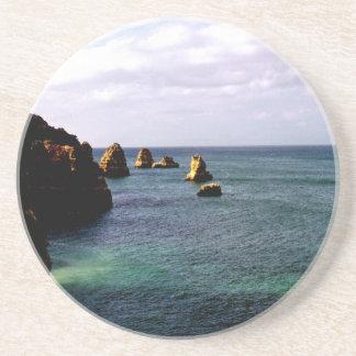 Heavenly Portugal Ocean - Teal & Azure Sandstone Coaster