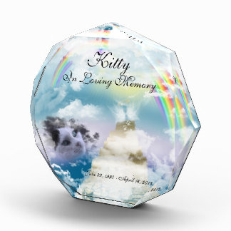 Heavenly Rainbow Pet Cat Memorial Acrylic Award