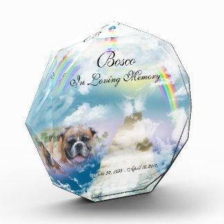 Heavenly Rainbow Pet Dog Memorial Acrylic Award