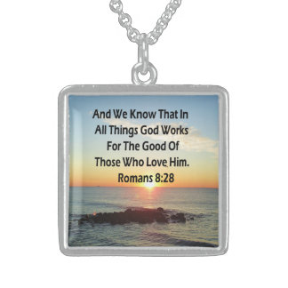HEAVENLY ROMANS 8:28 BIBLE VERSE STERLING SILVER NECKLACE