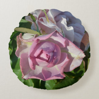 Heavenly Rose Abstract Round Pillow