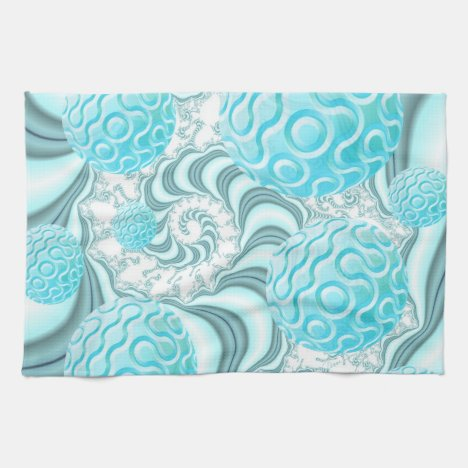 Heavenly Sea Shells, Abstract Pastel Beach Kitchen Towel