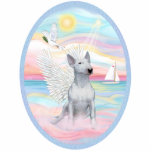 "Heavenly Sea - White Bull Terrier 1 Statuette<br><div class=""desc"">A  white Bull Terrier angel plays among the clouds along the shore of a heavenly sea.  A dove flies overhead while a sailboat sails by.  The sun is shining and a light breeze cools the air.</div>"