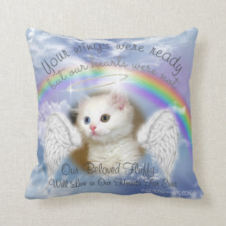 Heavenly Sky With Rainbow  Pet Memorial Throw Pillow