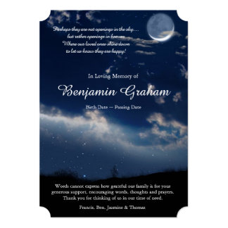 Heavenly Stars Funeral Thank You Card