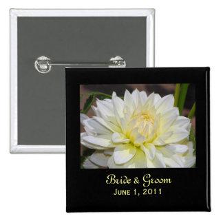 Heavenly White Dahlia Bride & Groom Button