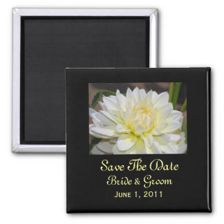 Heavenly White Dahlia Save The Date Magnet