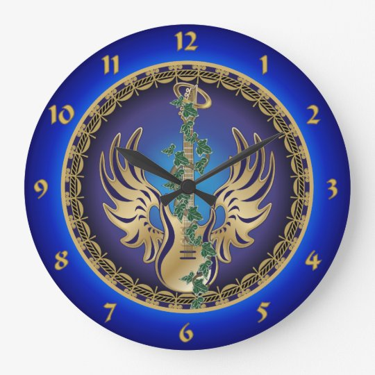 Heavenly Winged Guitar Large Clock
