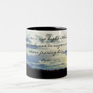 Heavens higher than earth Two-Tone coffee mug