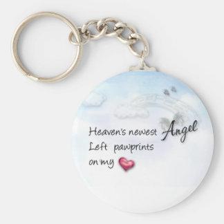 Heavens newest Angel left paw prints key chain